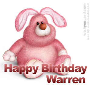 happy birthday Warren rabbit card
