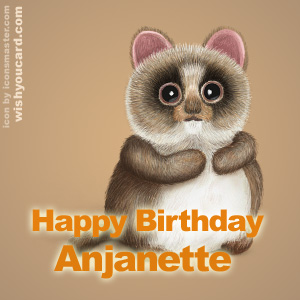 happy birthday Anjanette racoon card