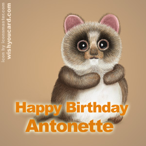 happy birthday Antonette racoon card