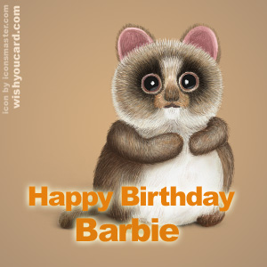 happy birthday Barbie racoon card