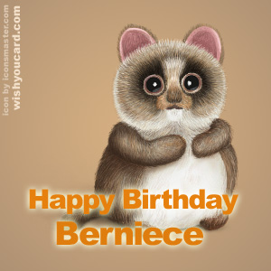 happy birthday Berniece racoon card