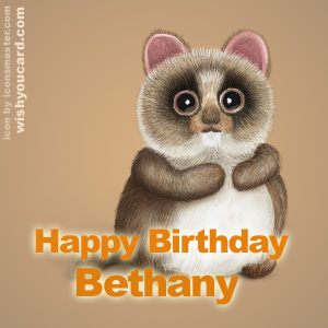 happy birthday Bethany racoon card