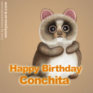 happy birthday Conchita racoon card