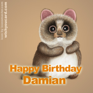 happy birthday Damian racoon card