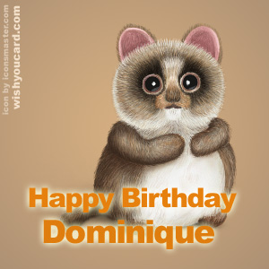 happy birthday Dominique racoon card