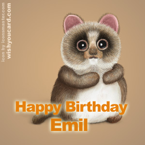 happy birthday Emil racoon card