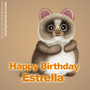 happy birthday Estrella racoon card