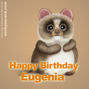 happy birthday Eugenia racoon card
