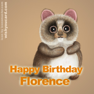happy birthday Florence racoon card