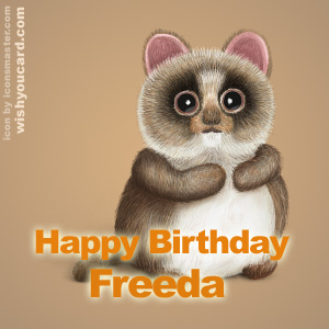 happy birthday Freeda racoon card
