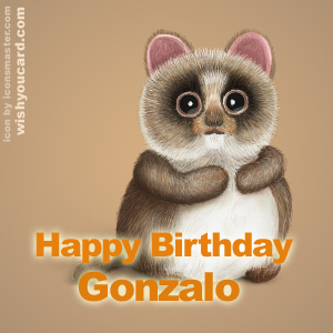 happy birthday Gonzalo racoon card