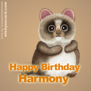 happy birthday Harmony racoon card
