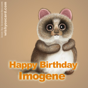 happy birthday Imogene racoon card