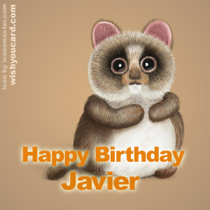 happy birthday Javier racoon card
