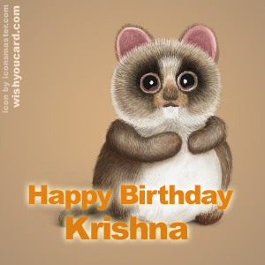 happy birthday Krishna racoon card