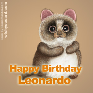 happy birthday Leonardo racoon card