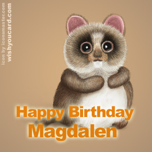 happy birthday Magdalen racoon card