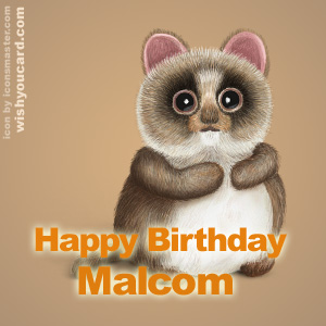 happy birthday Malcom racoon card