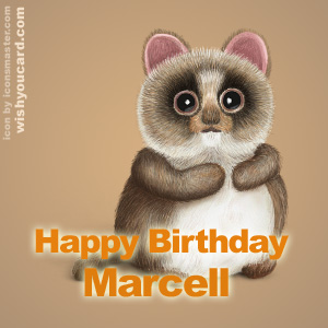 happy birthday Marcell racoon card