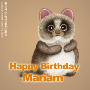 happy birthday Mariam racoon card