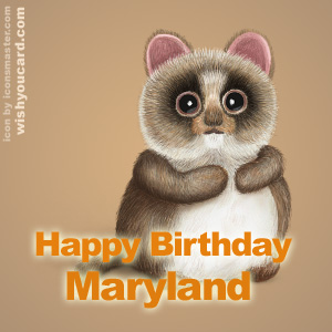 happy birthday Maryland racoon card