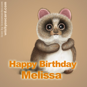 happy birthday Melissa racoon card