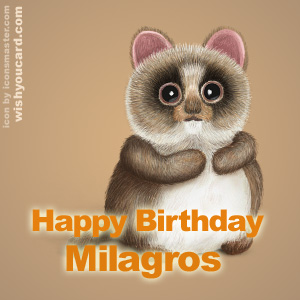 happy birthday Milagros racoon card