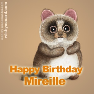happy birthday Mireille racoon card