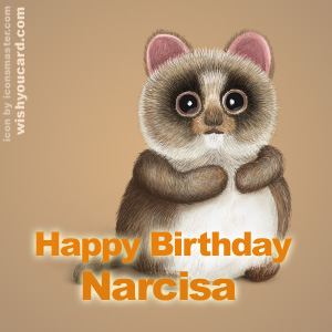 happy birthday Narcisa racoon card