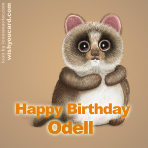 happy birthday Odell racoon card