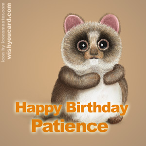 happy birthday Patience racoon card
