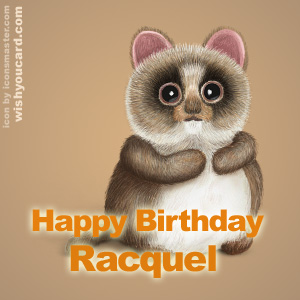 happy birthday Racquel racoon card