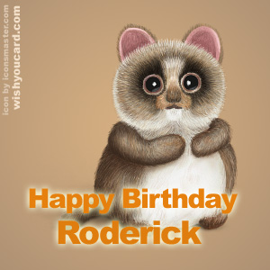 happy birthday Roderick racoon card