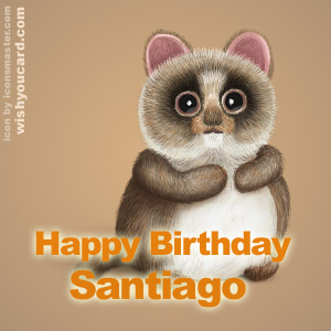 happy birthday Santiago racoon card
