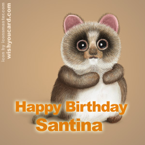 happy birthday Santina racoon card
