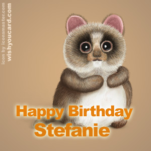 happy birthday Stefanie racoon card