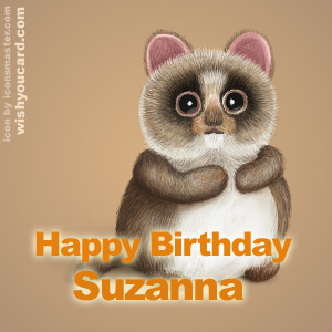 happy birthday Suzanna racoon card