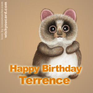 happy birthday Terrence racoon card