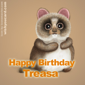 happy birthday Treasa racoon card