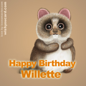 happy birthday Willette racoon card