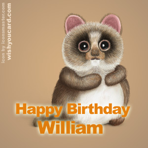 happy birthday William racoon card