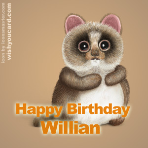 happy birthday Willian racoon card