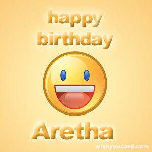 happy birthday Aretha smile card