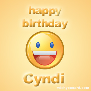 happy birthday Cyndi smile card