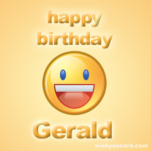 happy birthday Gerald smile card