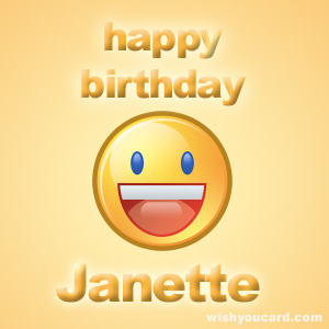 happy birthday Janette smile card
