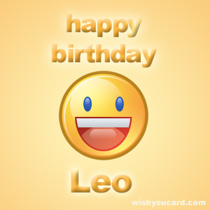 happy birthday Leo smile card