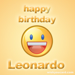 happy birthday Leonardo smile card