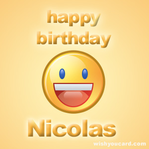 happy birthday Nicolas smile card