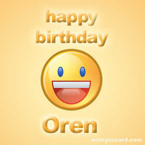 happy birthday Oren smile card